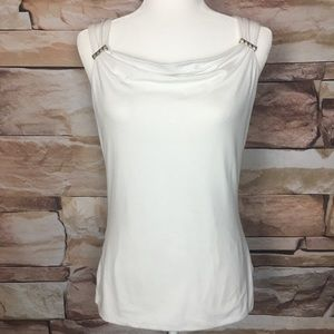 WHBM | White Top with Silver Buckles